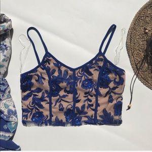 Windsor Blue Sequin Floral Mesh Crop Top Large